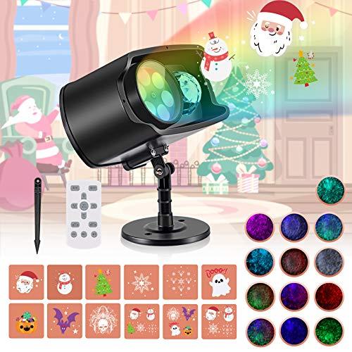 Luces Proyector de Navidad, AGPTEK Decoración Luz de Proyector Exterior Impermeable con Diapositivas Incorporado, Control Remoto, para Regalos, Festivos, Navidad