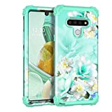 Casetego Compatible with LG Stylo 6 Case,Floral Three Layer Heavy Duty Sturdy Shockproof Full Body Protective Cover Case for LG Stylo 6,Green/White.