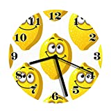 wojuedehuidamai6 Silent Wall Clock - Great Yellow Lemons Smiling with Googly Eyes - Decorative Wall Clock for Home、Office and Cafe with 9in