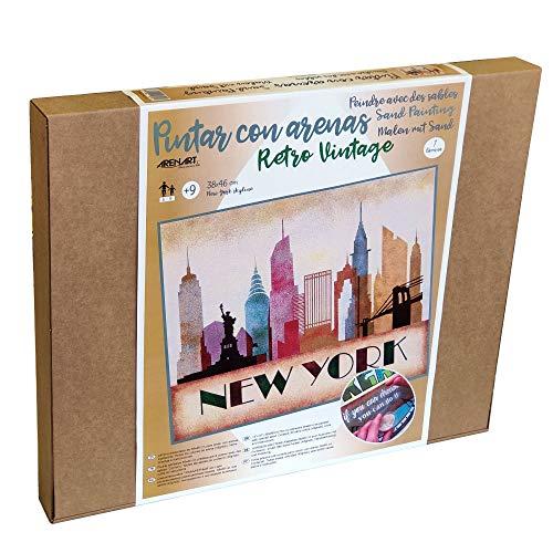 Arenart   1 Lámina de Nueva York Skyline 46x38cm   para Pintar con Arenas de Colores   Manualidades para Adultos y Jóvenes   Dibujo Fácil   Pintar por números   +9 años