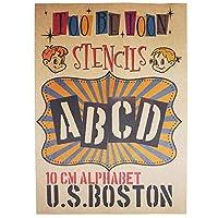 ステンシルシート アルファベット U.S.BOSTON 特大サイズ(10cm)