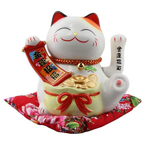 Superfreak Glückskatze - Maneki-Neko - Winkekatze aus Porzellan 15,5 cm weiß - Maneki Neko 01