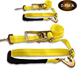 DC Cargo Mall 2 Ratchet Axle Strap Tie Downs (2' Wide x 114' Long – 2 Pack) with Adjustable Ring and Slipfree Webbing for Secure Auto Hauling, Heavy-Duty Tow Straps for Car Trailers and Auto Carriers
