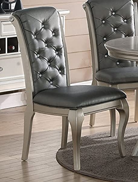 Advanced Furniture Charming Antique Silver Formal Dining Chair Set Of 2