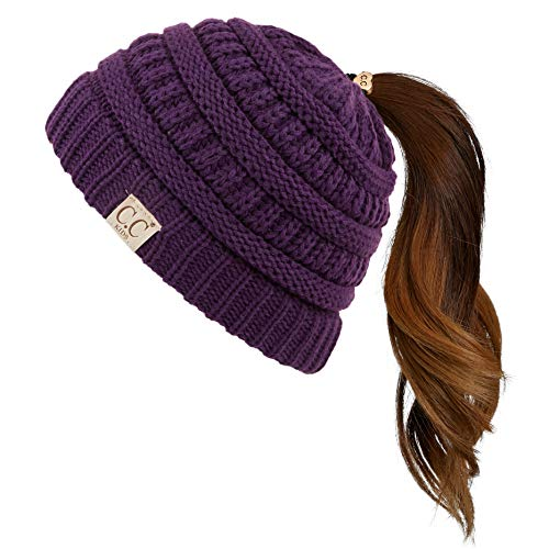 C.C Children Kids Beanie Chunky Thick Stretchy Knit Beanie Pony Tail Hat for Kid Ages 2-5 (MB-847-KIDS) (Purple)