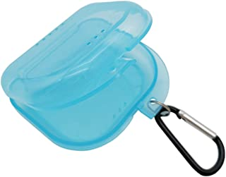 AIWAYING Retainer Case Mouth guard Denture Box with Carabiner Clip Transparent Blue