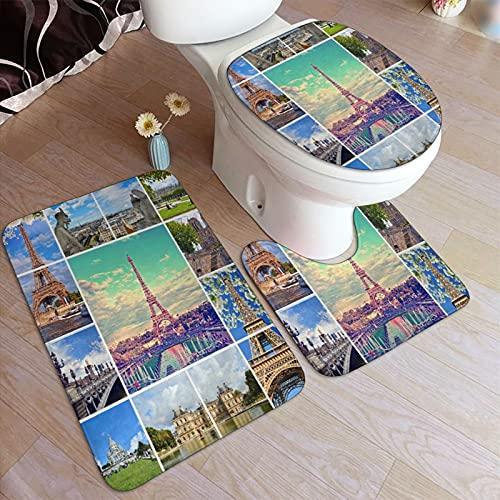 3 Piezas Juego de Alfombras de Baño,Hermosas fotos de la Torre Eiffel de París y otros lugares famosos y monumentos de París,Alfombra de Baño Suave + Alfombra Contour en Forma de U + Tapa de Inodoro