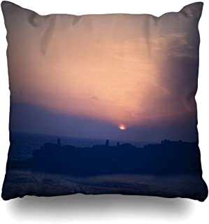 Ahawoso Throw Pillow Cover Square 20x20 Majestic Sunlight Sunrise That Color Paints Red Orange Sky Nature Sunset Parks Dawn Outdoor Cloud Zippered Cushion Case Decorative Pillowcase Home Decor