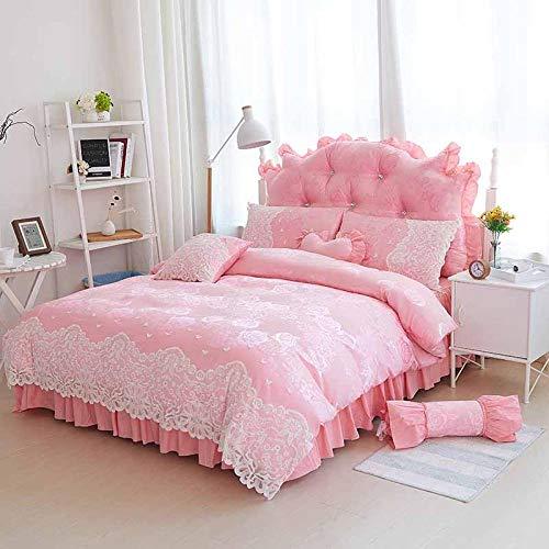 geek cook Duvet Sets Double,Lace Ruffles Princess Bedding Sets 4pcs Jacquard Satin Silk Quilt/Duvet Cover Bedspread Bed Skirt sets 100% Cotton-7_King 7pcs
