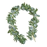 Artificial Eucalyptus and Olive Willow Vine Artificial Greenery Garland 6.5FT Silver Dollar Eucalyptus Leaves for Wedding Arch Backdrop Table Centerpieces Arch Wall Decor