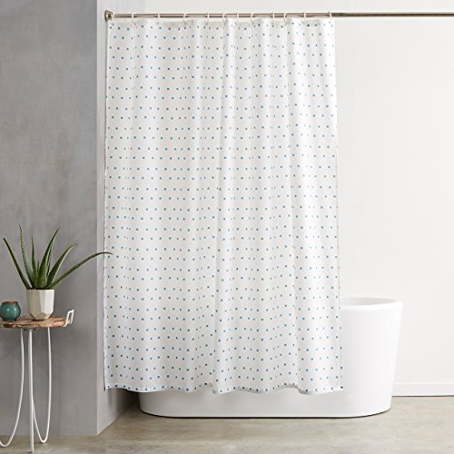 AmazonBasics Shower Curtain with Hooks - 72 x 72 Inch, Blue Squares