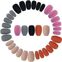 Wobe 120pcs Colorful Coffin Nails Matte False Gel Nails Art