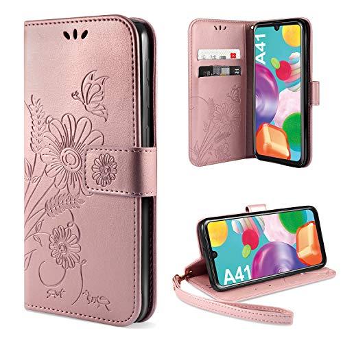 ivencase für Samsung Galaxy A41 Hülle Flip Lederhülle, Samsung Galaxy A41 Handyhülle Book PU Leder Tasche Hülle mit Kartenfach & Magnet Kartenfach Schutzhülle für Samsung Galaxy A41 (Pink)