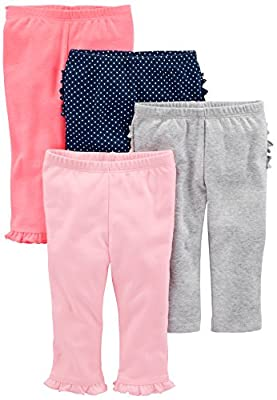 Simple Joys by Carter's Baby Girls 4-Pack Pant, Pink/Grey/Navy Ruffle, 24 Months