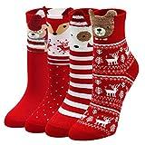 ZAKASA Socken Damen Baumwolle Thermal Wintersocken mit Klassisches Weihnachtsmann-Schneeflocken Muster Sportsocken Sneaker socken Für Frauen Weihnachtssocken, 5 Paare 35-42
