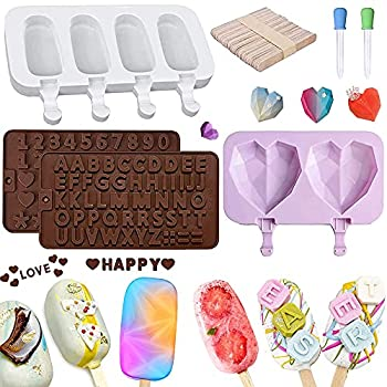 QWE Silicone Cake Pop Chocolate Molds Sets Ice Popsicle Molds Diamond Heart Shaped Candy Molds Sets Number/Letter Mold with Happy Birthday Molds With 50 Wooden Sticks for DIY Ice Cream
