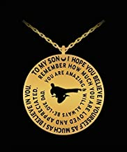 Karate Necklace For Boys - Silver/Gold Laser Engraved Pendant Charm From Dad - Personal Gift To Son ABCD