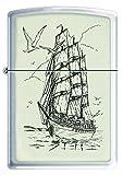 Zippo Ships Ahoy Mechero, Metal, Brushed Chrome, 3.5x1x5.5 cm