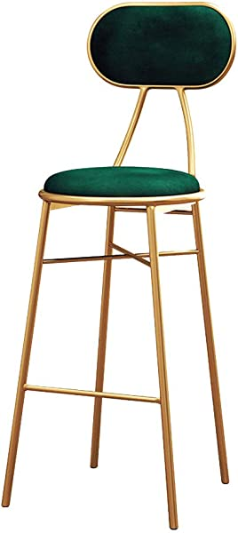 NLLPZ STOOL Modern Barstools Chair With Back And Footrest For Kitchen Pub Bar High Stools Gold Metal Legs Side Dining Chairs Velvet For Bistro Counter Height Furniture Green