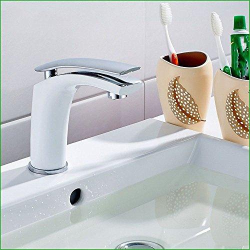 Grifo mezclador para lavabo, WATER TOWER moderno con cuerpo de llave de latón, chapado en cobre blanco lacado para hornear, lavabo, lavabo, un solo agujero, grifo de agua caliente y fría