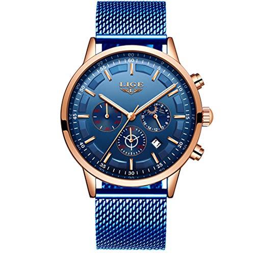 LIGE Herren Uhren Wasserdicht Chronograph Analog Quarz Mondphase Kalender Blau Edelstahl Armbanduhren für Herren