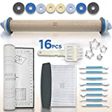 Rolling Pin Set - Adjustable Rolling Pin - Silicone Baking Mats For Sugar Cookies - Pastry Mat - Pastry Cutter- Pasta & Dough Roller - Pizza Roller - Baking Supplies - Fondant Tools - Dough Cutter