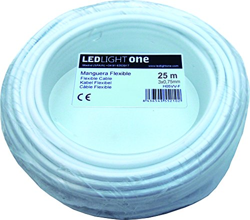 Cable H05VV-F Manguera 3x0,75mm 25m (Blanco)