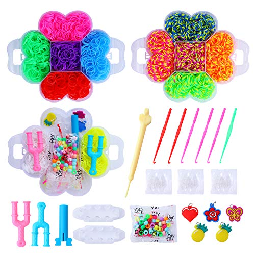 Herefun 4500 Loom Bänder Set Kinder Starter Box, Rubber Bands Loom Bands Knitting Tools, DIY Gummibänder Kinder Loom Basteln, Strickwerkzeug Set, Kinderspielzeug Geburtstagsgeschenk & Weihnachten