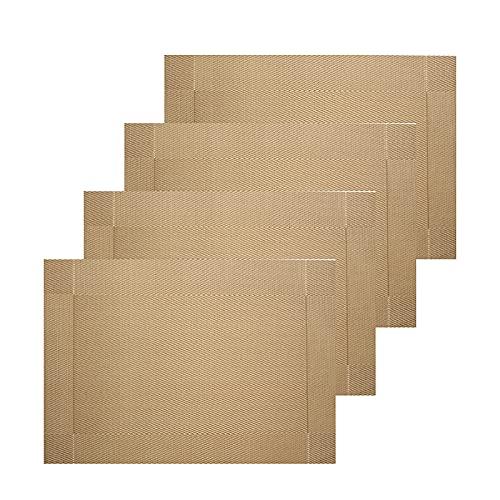 Placemats, Set of 4 Heat-Resistant Stain Resistant Non-Slip Placemats for Kitchen Table, Washable Durable PVC Table Mats Woven Vinyl Placemats (4Pcs,Yellow )