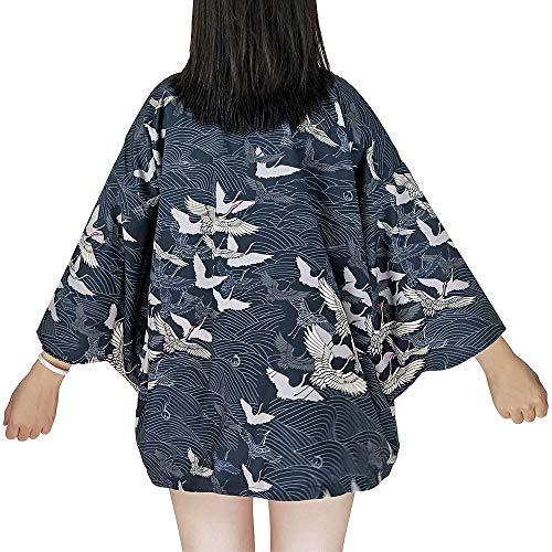 G-like Kimonos japoneses para mujer - Disfraz tradicional de Haori Robe Tokio Harajuku, diseo de dragn, chaqueta, camisa de noche, albornoz, ropa de dormir, azul, Talla nica