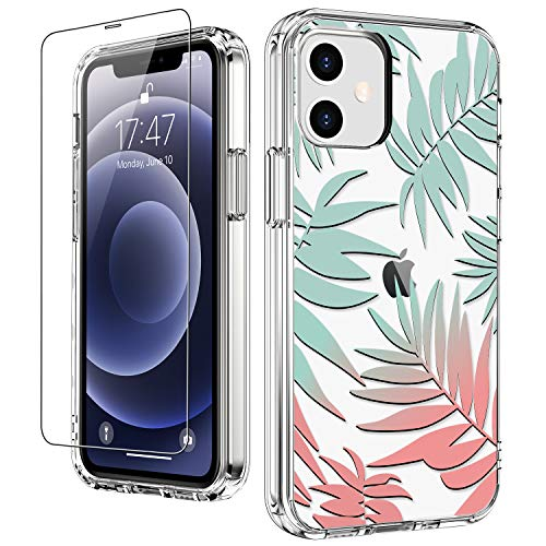"""LUHOURI for iPhone 12 Case,iPhone 12 Pro Case with Screen Protector,Floral Flower Tropical Leaves Designs on Crystal Clear Cover for Women Girls,Protective Phone Case for iPhone 12/12 Pro 6.1"""""""