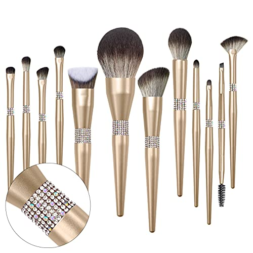 LORYP Glitter Makeup Brushes Sets -12pcs Cosmetic Brushes Set Bling Crystal Gold Makeup Brushes Set - Premium Synthetic Foundation Powder Concealers Eye Shadows Brush(12 Pcs-Gold)