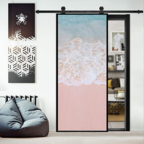 BVCK 3D Pink Water Door Sticker Door Wrap Wall Sticker Mural Wallpaper Poster Self Adhesive PVC Removable Waterproof