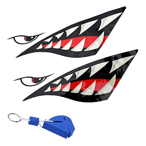 MagiDeal 2 x Autocollants Dents Yeux Requin + Porte-Clés Flottant Voile Accessoire Décoration Kayak Bateau