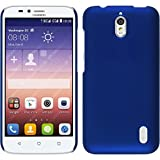PhoneNatic Case kompatibel mit Huawei Y625 - Hülle blau gummiert Hard-case + 2 Schutzfolien
