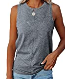 VWMYQ Womens Summer Tank Tops Crew Neck Sleeveless Solid Color Casual Loose Fit Tee Shirts Dark Grey