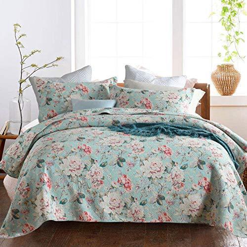 Topmail Tagesdecke Bettüberwurf Patchwork inkl. 1 Steppdecke 230 x 250 cm +2 Kissenbezug 50 x 70cm geeignet für das ganze Jahr,aus 100% Baumwolle Atmungsaktive Gesteppte Decke (Flower, 230 x 250cm)