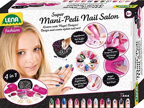 Lena 42654 Super Mani Pedi Nail Salon, 4 in 1 Nagelstudio für Kinderhände, Komplettset zum Verschönern von Fingernägel, Fingernagelsalon für Mädchen ab 8 Jahre, Nagelpflege