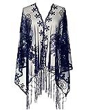 keland Brillante Bufanda de Las Mujeres de la década de 1920 Boda de Lentejuelas Capa con Flecos por la Noche Envoltura de mantón (Azul Marino)