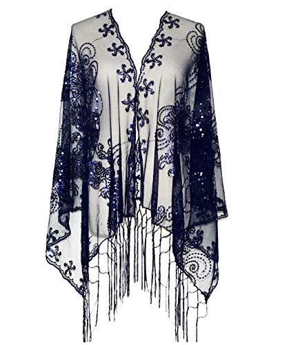 KELAND Women's Glittering 1920s Scarf Mesh Sequin Wedding Cape Fringed Evening Shawl Wrap (Navy)(Size: One Size)