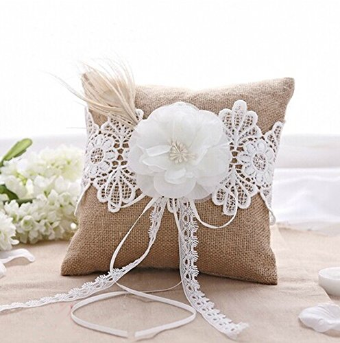 Ivory Flower with Pearls Peacock Feather Burlap Lace Wedding Ring Pillow Bearer Bridal Shower Favor
