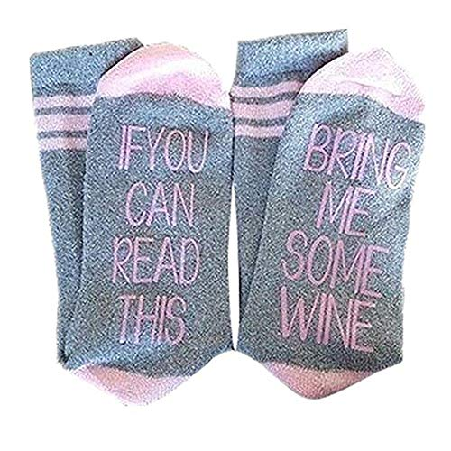Price comparison product image Christmas Gifts Socks IF YOU CAN READ THIS BRING ME SOME WINE Funny Saying Beer Cotton Crew Socks for Men Women