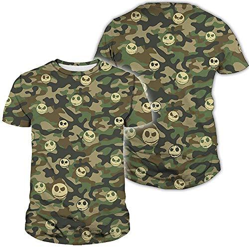 Zmli Divertido disfraz de Jackskelington cara de Halloween Pesadilla camuflaje 3D impreso completo por toda la camisa