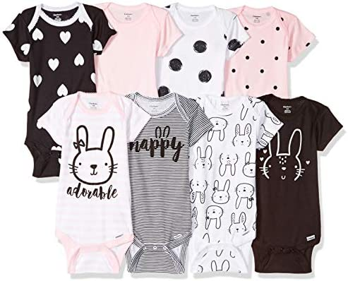 Gerber Baby 8 Pack Short Sleeve Onesies Bodysuits Pink Bunny 12 Months product image