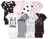 GERBER Baby Girls' 8 Pack Short-Sleeve Onesies Bodysuits, Pink Bunny, 0-3 Months