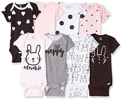 Gerber Baby Girls' 8 Pack Short-Sleeve Onesies Bodysuits, Pink Bunny, Newborn
