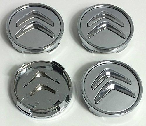 4 tapas de buje de 60mm para llantas de aluminio para Citroën, con logotipo gris cromado