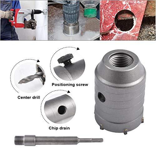 HOHXEN 50mm SDS Plus Lochsäge Betonbohrer Betonschneider für Betonzementstein + Schraubenschlüssel + Verbindungsstange + Bohrer