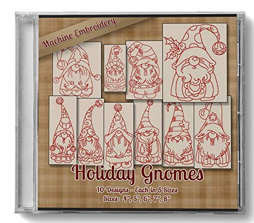 Holiday Gnomes Redwork Embroidery Machine Designs on CD - 10 Outline Style Designs - 5 Sizes Each - Art PES JEF EXP VIP HUS DST VP3