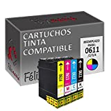 4X Cartuchos Compatibles Tinta T0611/2/3/4 para Epson 16ml Color T21